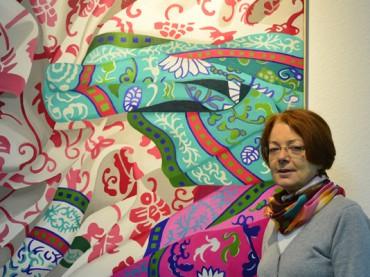 Angelika Gehrke: Motive von Stoffen und Tüchern in kräftigen Farben