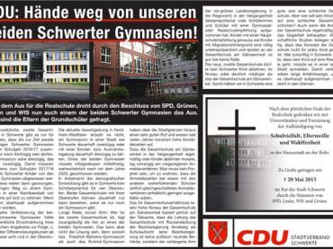 CDU kämpft mit großer Anzeige für die Gymnasien