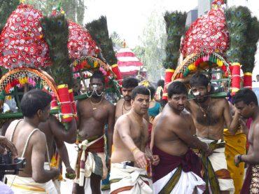 Prozession Höhepunkt des Tempelfestes für die Göttin Sri Kanakathurka Ampal